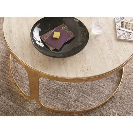 Dwell Studio Bennett Travertine Antique Gold Coffee Table Decor