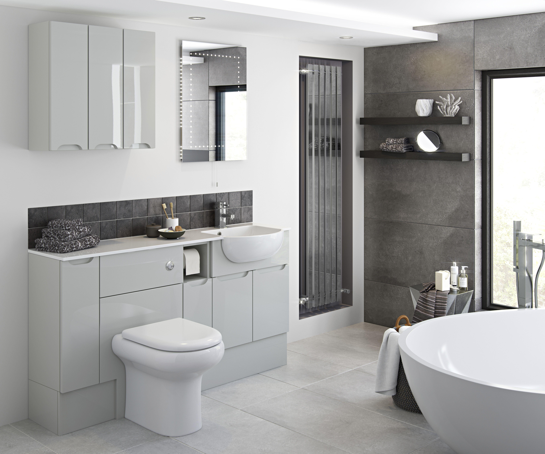 Light Grey Gloss Pull Handle Bathroom Trends Big Bathrooms Bathroom Design