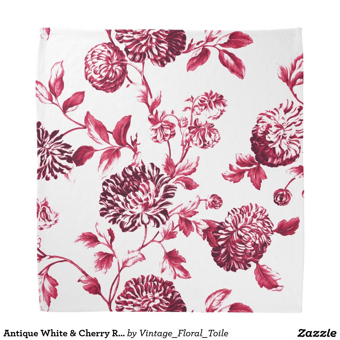 Antique White & Cherry Red Botanical Floral Toile