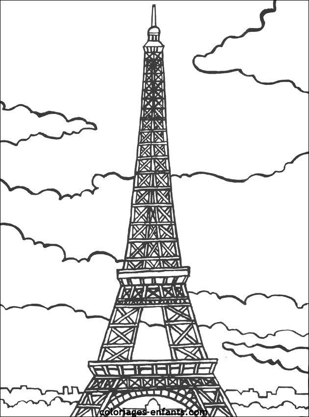 coloriages de la tour Eiffel | coloriage | Coloriage paris, Coloriage tour eiffel et Coloriage