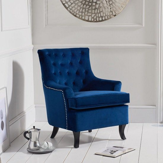 Bartow Modern Accent Chair In Blue Velvet With Black Legs ...