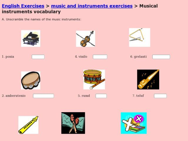 Esl Vocabulary Musical Instruments Worksheet Lesson Planet