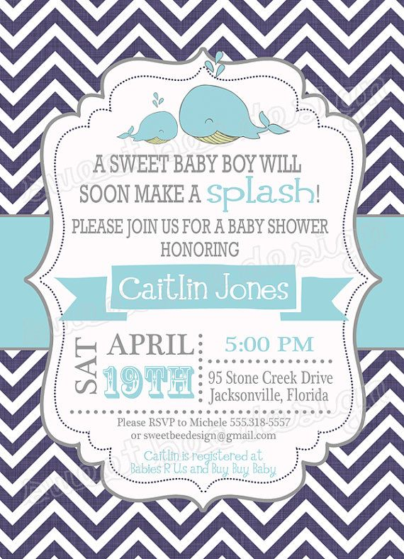Whale Baby Shower Invitation Whale Baby Shower Whale Baby Shower