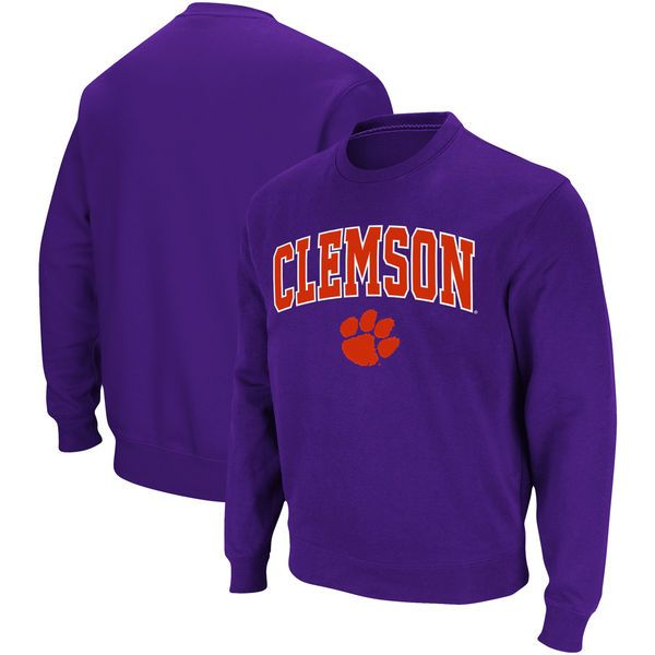 Clemson Tigers Arch u0026 Logo Pullover Sweatshirt - Purple - $34.99