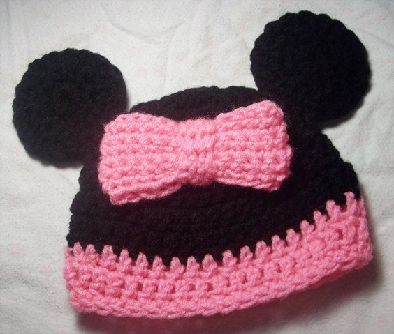 Black & Pink Mouse Beanie With Attached Bow  MADE TO by skylay, $16.00