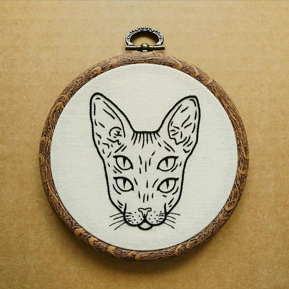 Four Eyed Sphynx Cat Hand Embroidery Pattern PDF modern hand