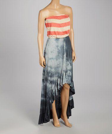 Another great find on #zulily! Coral Stripe & Dark Denim Wash Strapless Dress #zulilyfinds