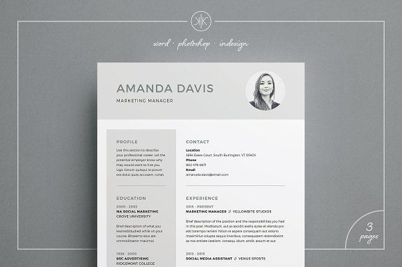 Resumecv Amanda By Keke Resume Boutique On At Creativemarket