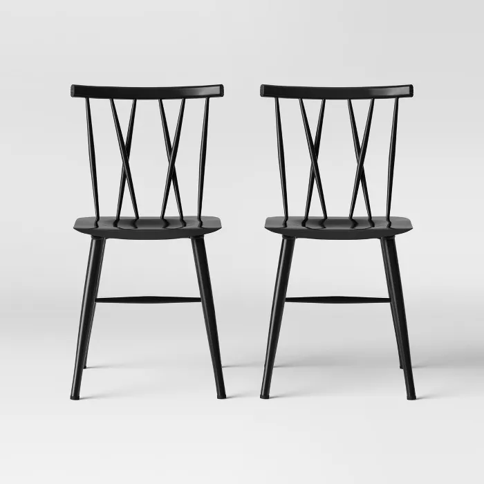 Set Of 2 Becket Metal X Back Dining Chair Project 62 In 2020