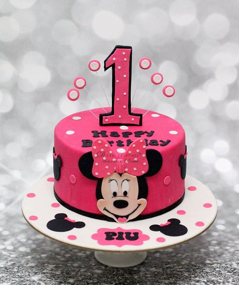 Outstanding Minnie Mouse Cakes 1St Birthday Minnie Mouse 1St Birthday Cake Ba Personalised Birthday Cards Paralily Jamesorg