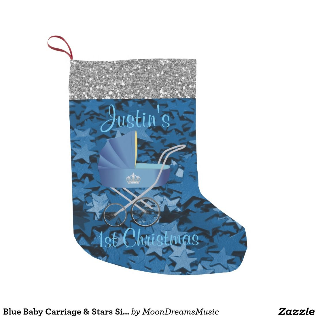 #BlueBabyCarriage & #Stars #SilverFauxGlitter #Babys1stChristmasStocking by #MoonDreamsMusic #BlueFauxGlitterStars