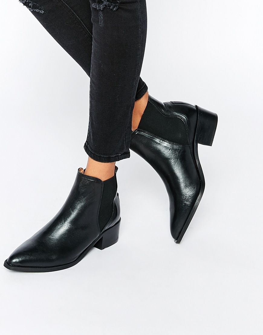 eeff70d87378 Image 1 of Selected Femme Elena Black Leather Chelsea Ankle Boots ...