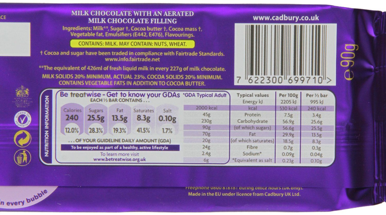 Cadburys Chocolate Share Bar Nutrient Information