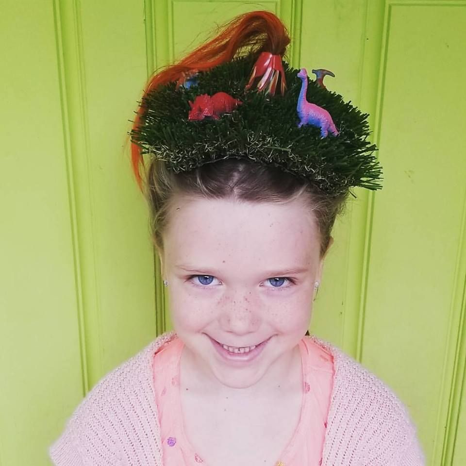 crazy hair day at school. grass mat, toy volcano, hair paint