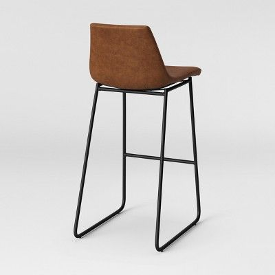 Bowden Faux Leather And Metal Barstool With Black Legs Caramel
