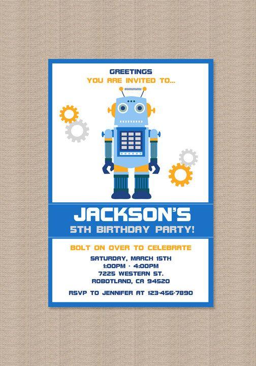 Robot birthday party invitation robot invites boy robot robot robot birthday party invitation robot invites boy robot robot party blue orange gray printable filmwisefo Gallery