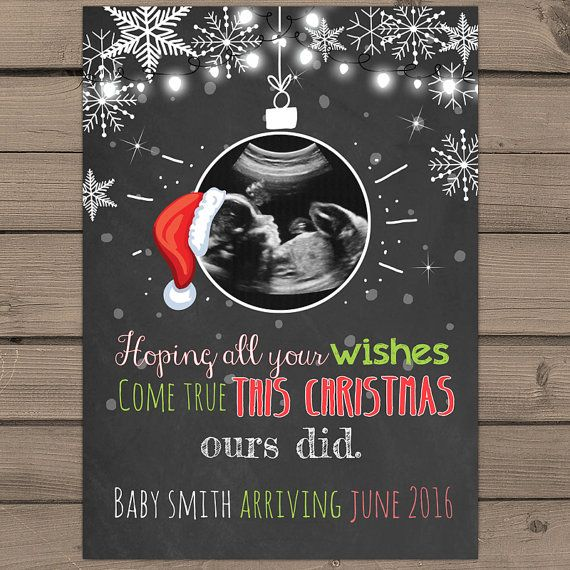 printable christmas pregnancy announcement card ultrasound santa hat christmas baby announcement