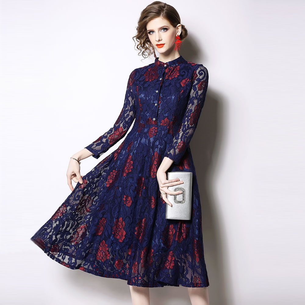014bf44e12ef8 Women Casual Lace Long Dress New Brand 2019 Spring Vintage Big Swing ...