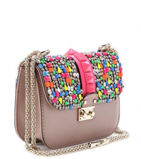 a4337b3fbfa Women s Natural Mini Rockstud Lock Shoulder Bag  Rose Gold