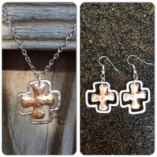 Silver & Gold Cross Necklace & Earring Set