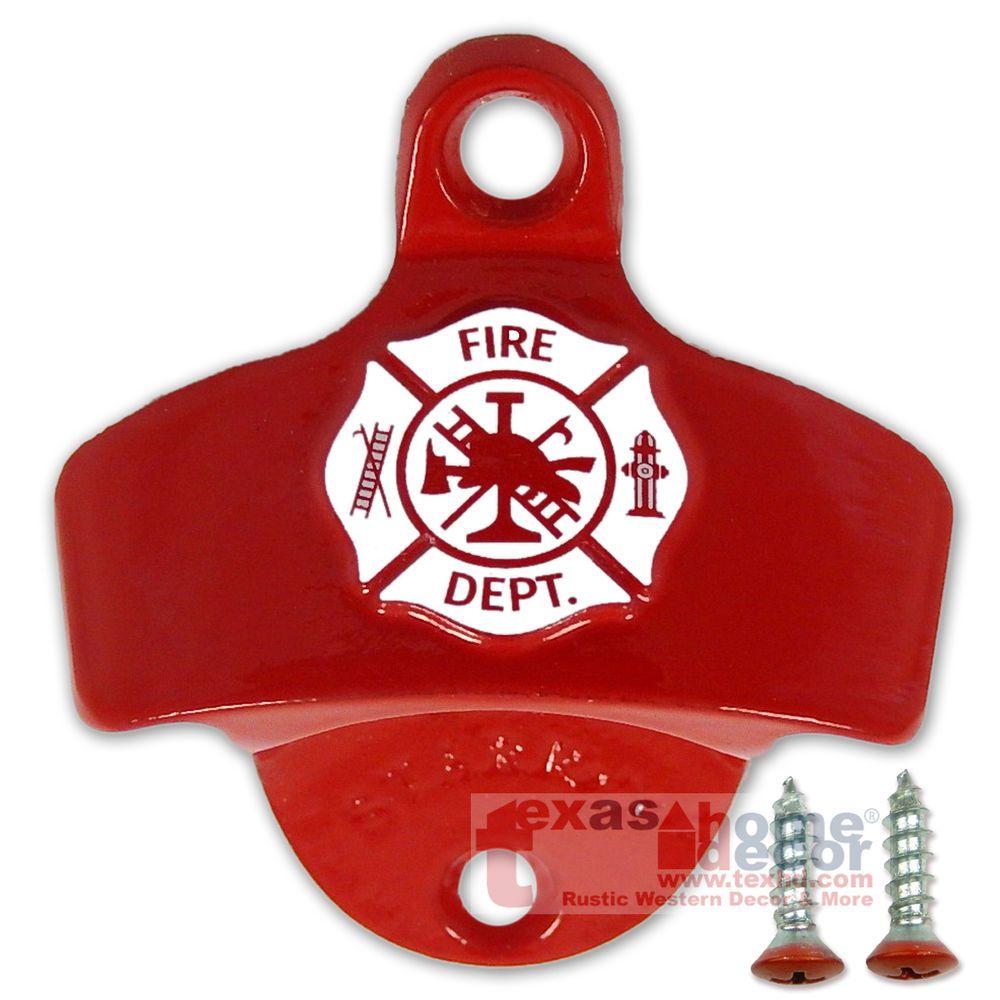 Embossed Fireman Shield Fire Department Wall Bottle Opener