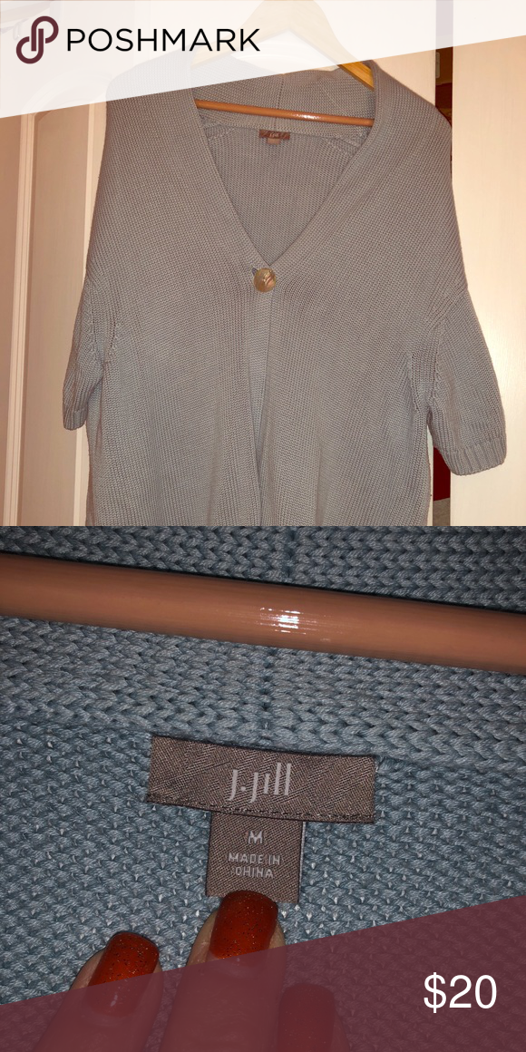 e06da441cbe J Jill light blue Cardigan Excellent condition J Jill light blue cardigan.  Size medium. This cardigan is short sleeved and has one large button.