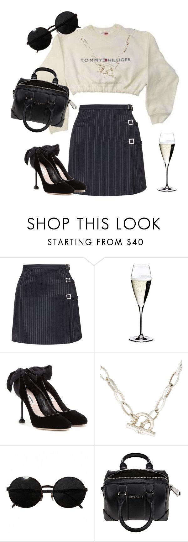 """""""Untitled #624"""" by chookadee ❤ liked on Polyvore featuring Topshop, Riedel, Miu Miu, Slane, Versace and Givenchy"""