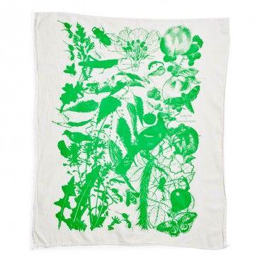 Lucky Fish Neon Green Tea Towel