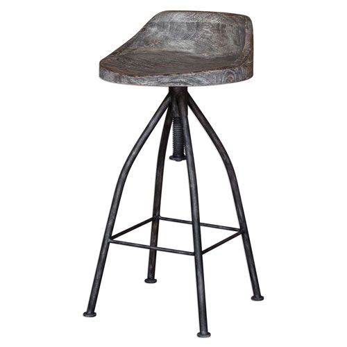 Uttermost Kairu Gray Glazed Driftwood Bar Stool 25726 Bellacor Wooden Bar Stools Adjustable Bar Stools Industrial Bar Stools