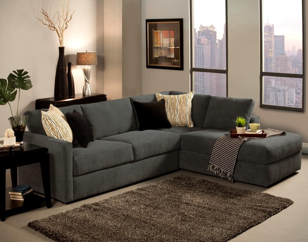 Upholstered Sectional Couch With Chaise Lounge And Carpet