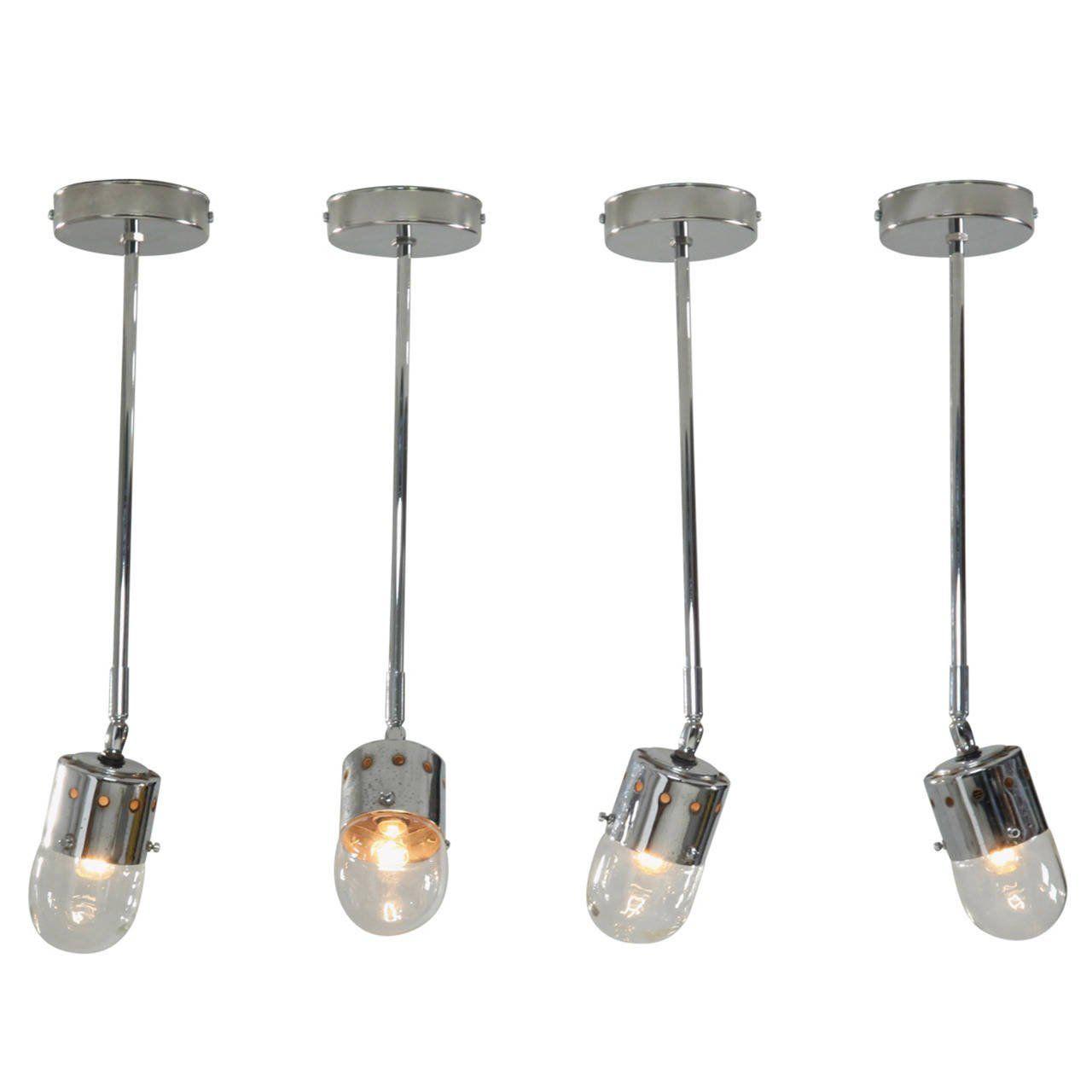 Set of four chrome minimalist italian ceiling lights s