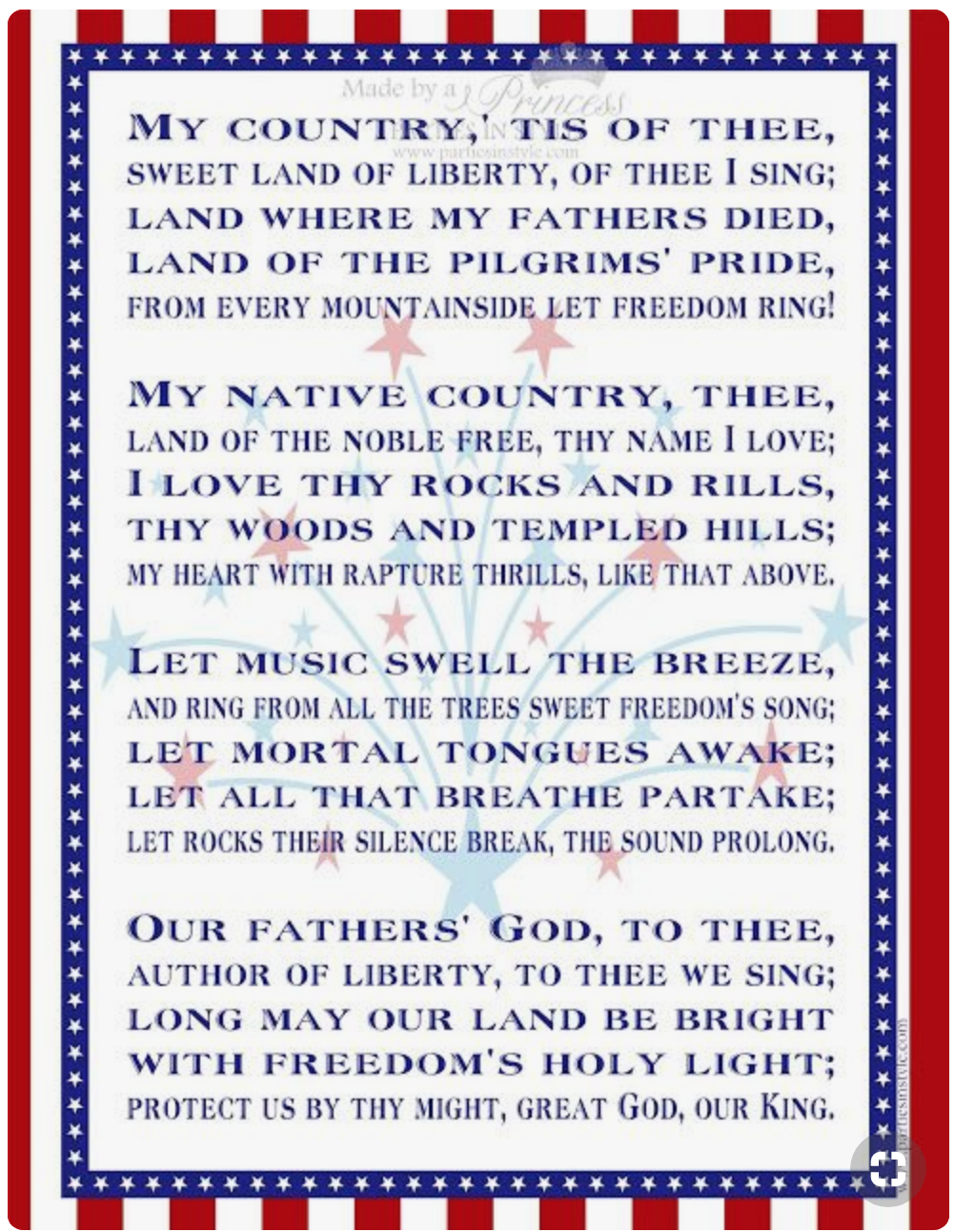 My Country Tis Of Thee Patriotic Words Patriotic Pray For America