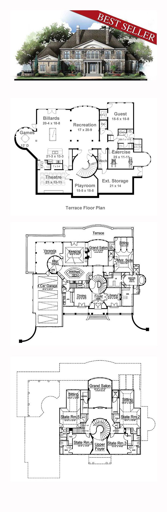 Greek Revival Style House Plan 72155 With 5 Bed 7 Bath 4 Car Garage Luxury House Plans House Blueprints House Plans