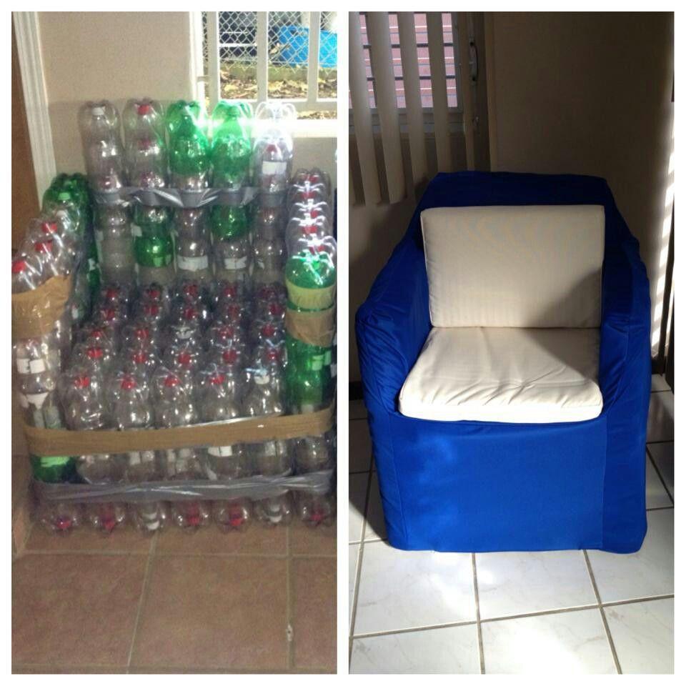 Gran Idea De Sill N Con Botellas Reciclaje Pl Stico Pinterest  # Muebles Tejidos De Plastico
