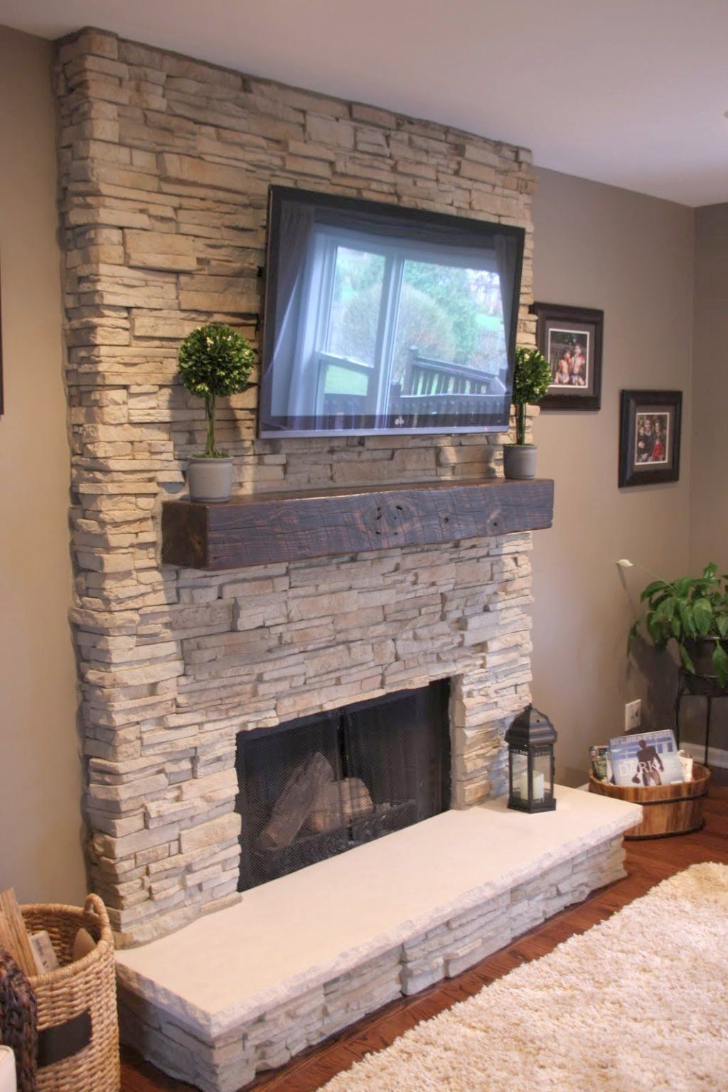 Nice Install Stacked Stone Fireplace   Get Inspired With This Amazing Photo Of Stack Stone Fireplaces With Plasma  TV Mounted. You