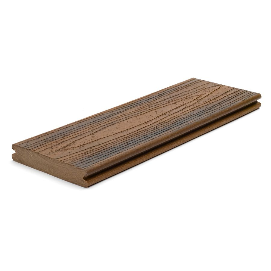 Trex Transcend Spiced Rum Groove Composite Deck Board Actual 0 94 In X 5 5 In X 16 Ft 70 40 With Images Trex Transcend Composite Decking Composite Decking Boards