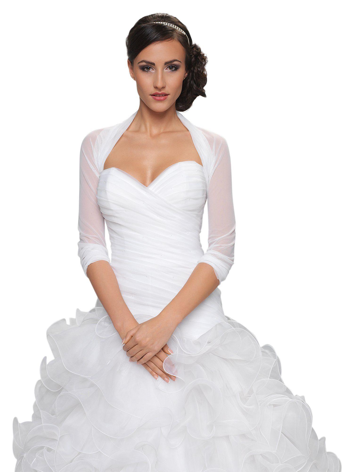 bolro pour jeune marie tulle bolro veste mariage manche longueur 34 ivoire - Bolero Mariage Blanc