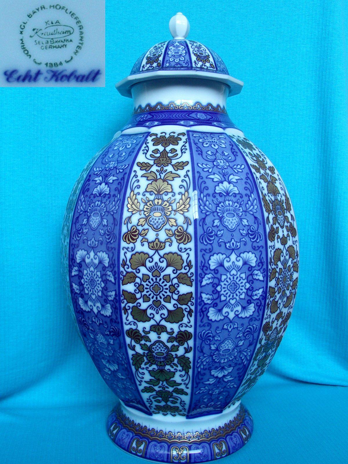 Great Vase 50cm splendor cover genuine cobalt K & A Krautheim Selb Bavaria porcelain