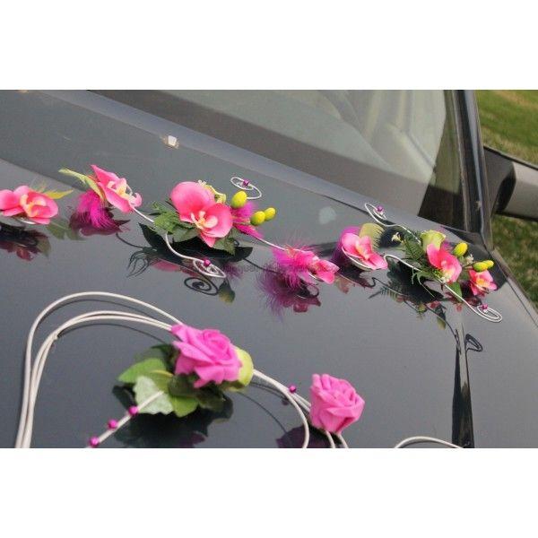 decoration voiture mariage fushia