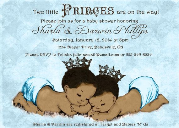Prince Twins Baby Shower Invitation For Twin Boys By Jjmcbean 23 00
