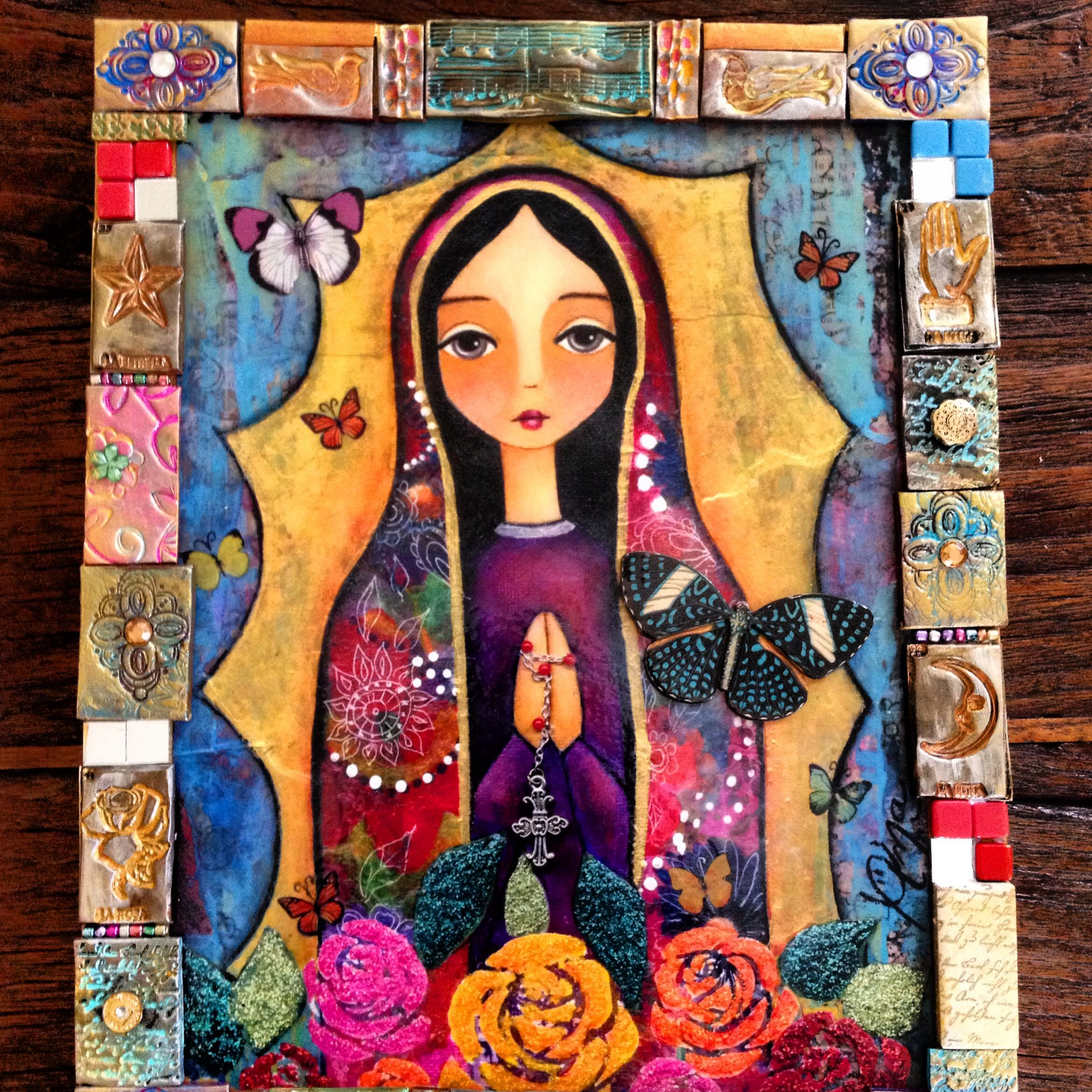 La virgen de las Flores/ Ana Ferrer Art With a frame made with ...