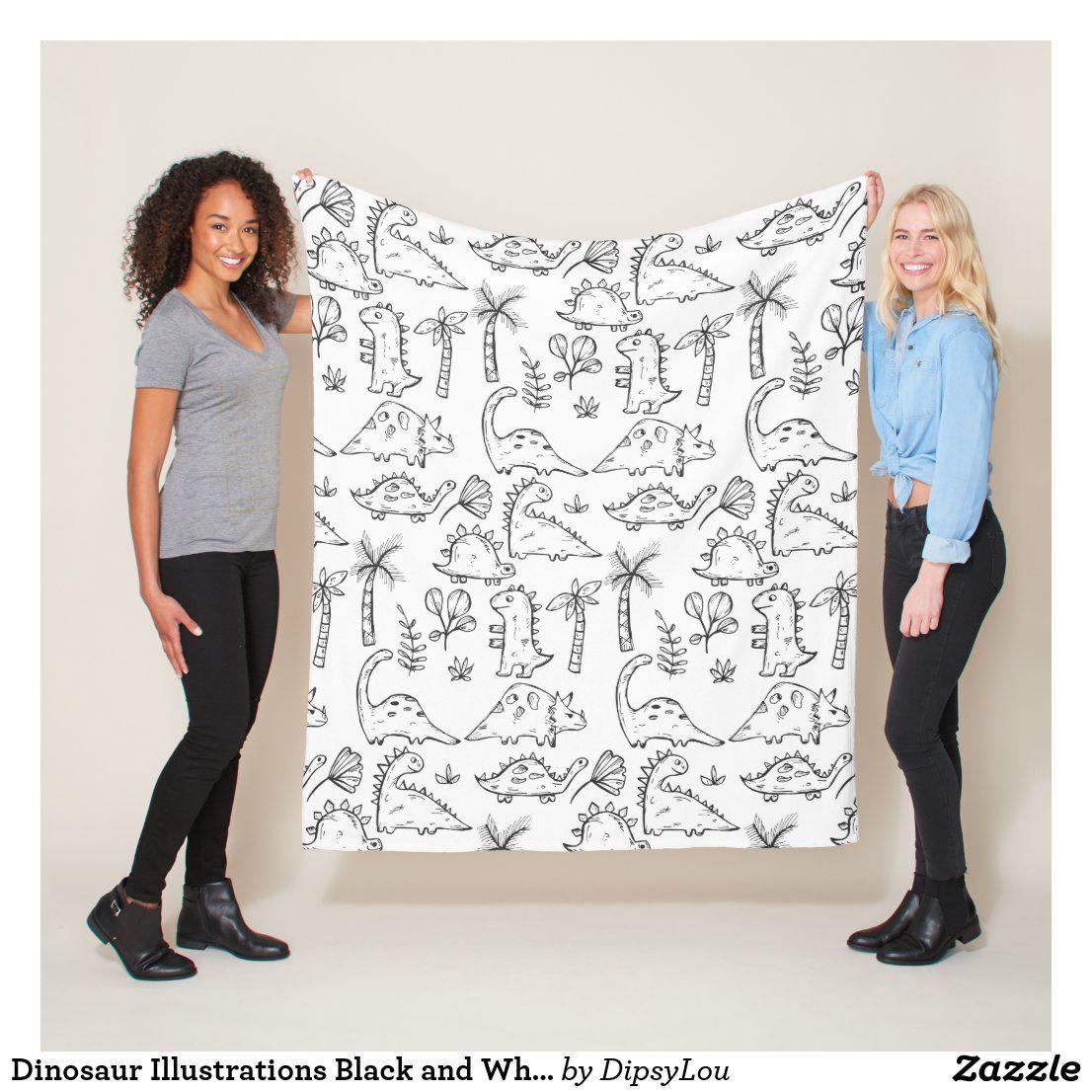Dinosaur Illustrations Black and White Pattern Fleece Blanket | Zazzle.com