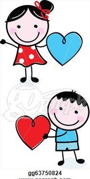 Cute Stick Figure Kids Holding Valentine S Day Hearts Me Him