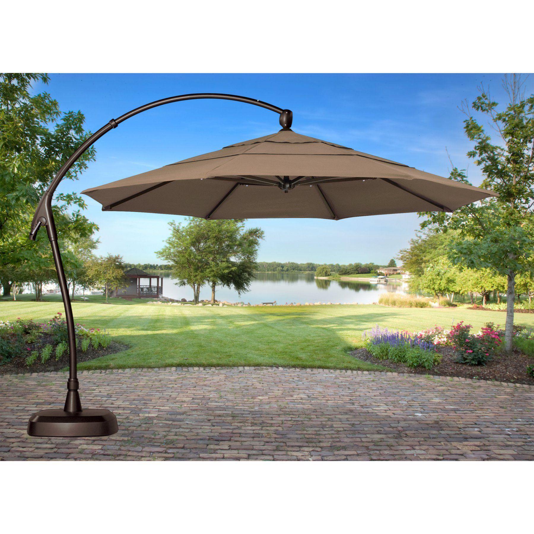 Treasure Garden 11 Ft Cantilever Offset Sunbrella Patio Umbrella With Base Re240 Patio Umbrella Patio Large Patio Umbrellas