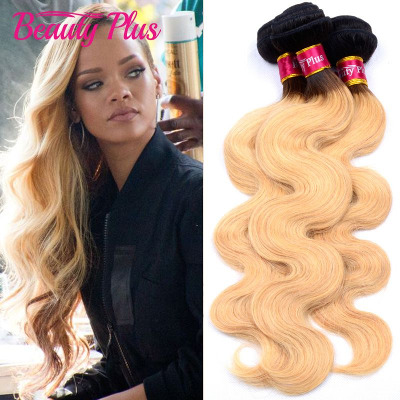 Sleek Colorful Hair Mink Brazilian Hair Weave Bundles10 To26 Inches Honey Blonde 613# Color Body Wave Bunles Remy Hair Extension Rich And Magnificent Human Hair Weaves