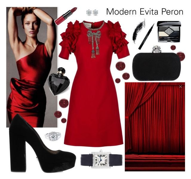 """""""Evita"""" by joelc on Polyvore featuring Burberry, Prada, Gucci, John Lewis, Cartier, Bliss Diamond, Lipsy, Christian Dior, Givenchy and Rimmel"""