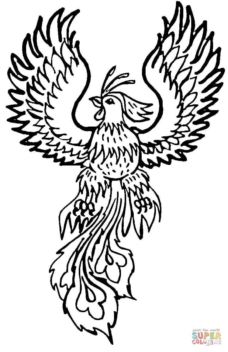 Phoenix Coloring Pages To Download And Print For Free Pictures Of Phoenix Coloring Pages Mythical Creatures