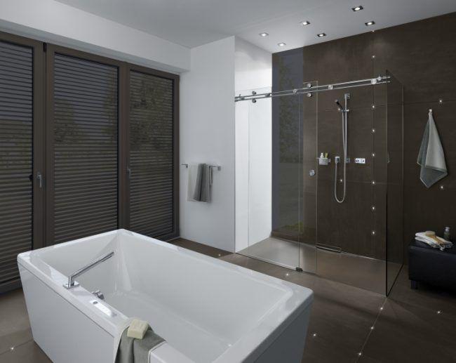Led In Fliesen -Indirekte-Beleuchtung-Badezimmer-Schwarz-Weiss