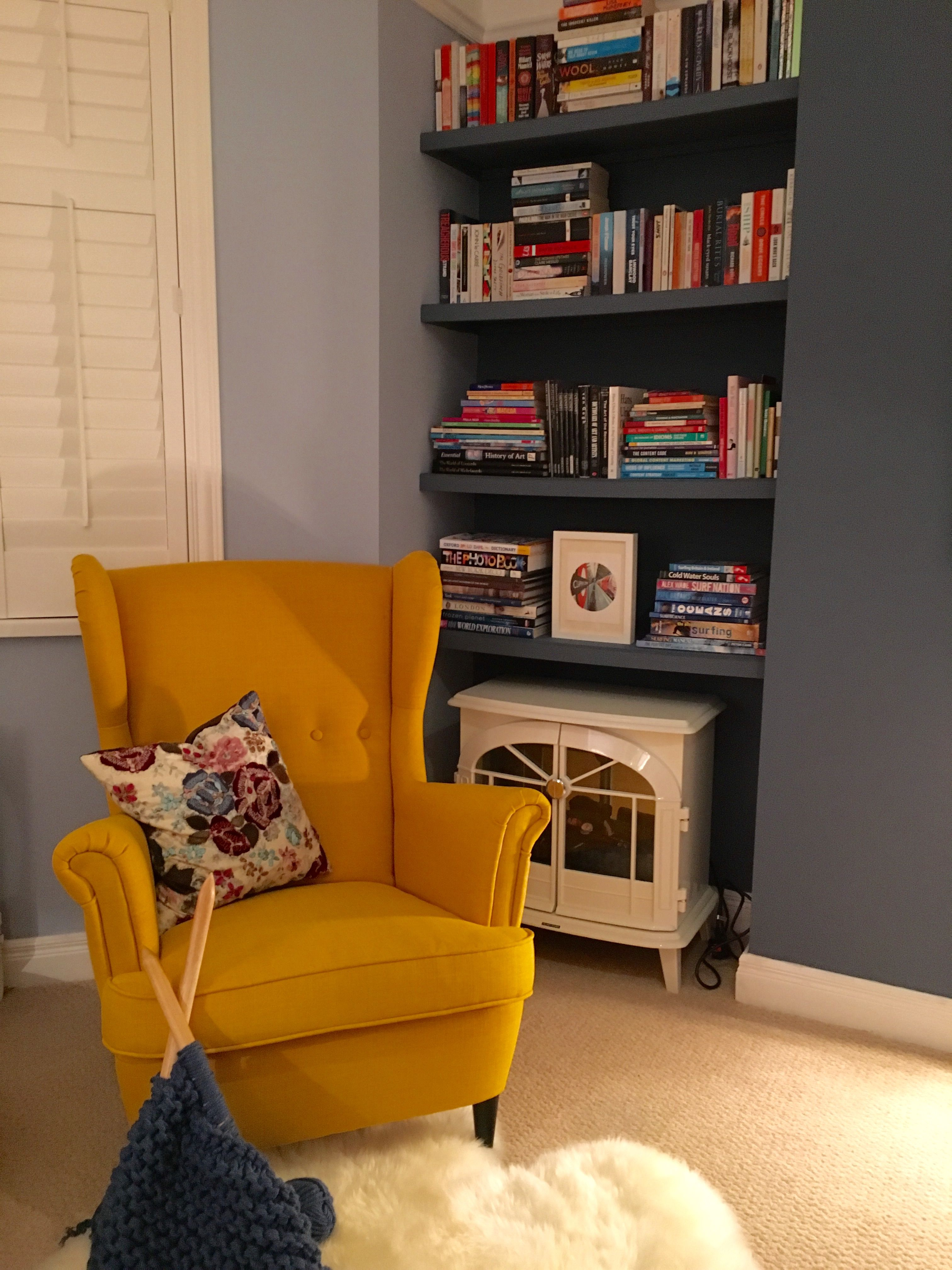 Yellow Ikea Strandmon Chair Against Little Greene Juniper Ash And Pale Wedgewood Paint Cosy Reading Corner Home Room Design House Interior Living Room Chairs