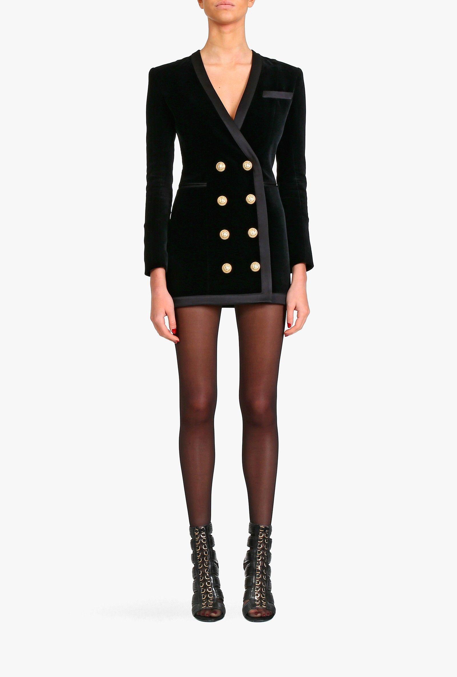 e886c37294bd67 Balmain - Double-breasted cotton-velvet mini dress - Women s dresses ...
